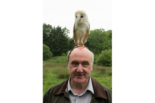 Shaun Greenhalgh with Bob the Barn Owl.