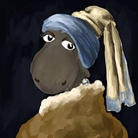 Sheep with a Pearl Earring - after Girl With A Pearl Earring by Johannes Vermeer