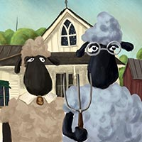 American Sheep - after American Gothic by Grant Wood
