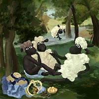 The Luncheon of Sheep - after Le Dejeuner sur l'herbe by Edouard Manet