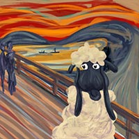 Baaaa! - after The Scream by Edward Munch