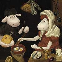 Baad Old Woman Frying Eggs